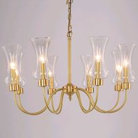 American country all copper Pendant Lights American copper lamp pure brass restaurant lamps Multi head glass lamp LU71237