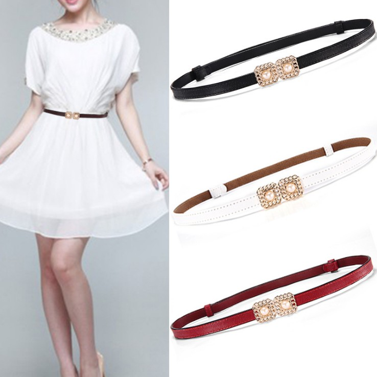 New Women's Waistband Genuine Leather Pearl Gold Metal Buckle Thin Cummerbunds For Jeans Dress Female Top Quality Ceinture Femme