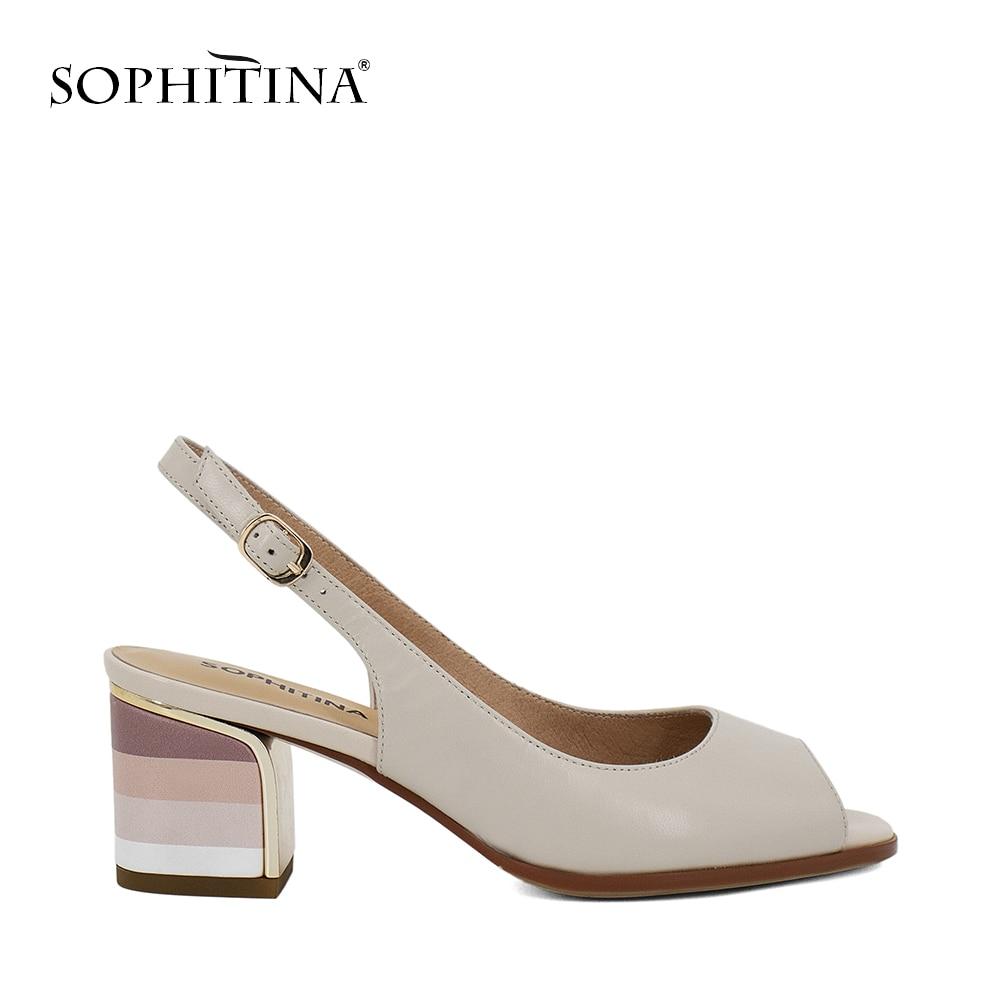 New Sandales Cuir Sophitina 2018 Véritable Fait Main Sexy Lady Peep En nq0RP46Cq