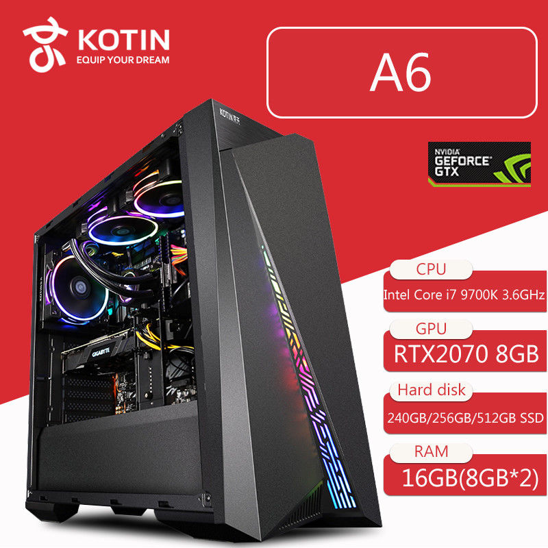 Kotin Intel Core I7 9700K 3.6GHz Gaming PC Desktop Z390 RTX 2070 8GB GDDR6 GPU 16GB RAM Computer ATX Mid Tower Water Cooling