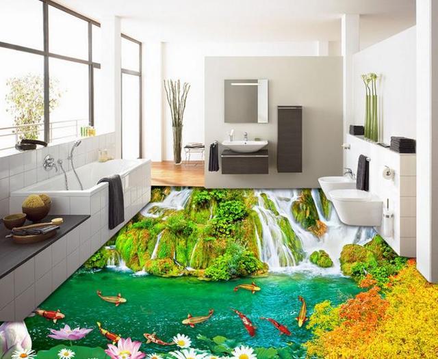Benutzerdefinierte Foto Wasserfall Neun Fisch Boden Tapete Moderne