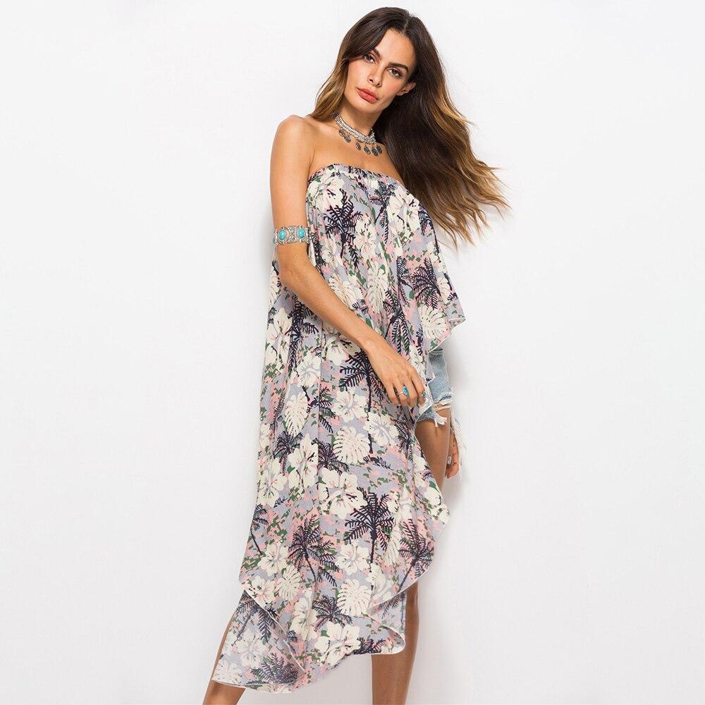 2018 Summer Long Dress Floral Print Bohemian Beach Dress Strapless Dress Women Evening Party Dress Sundress Vestidos de festa in Dresses from Women 39 s Clothing