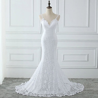 Women's V neck strap mermaid lace wedding dresses wedding gown