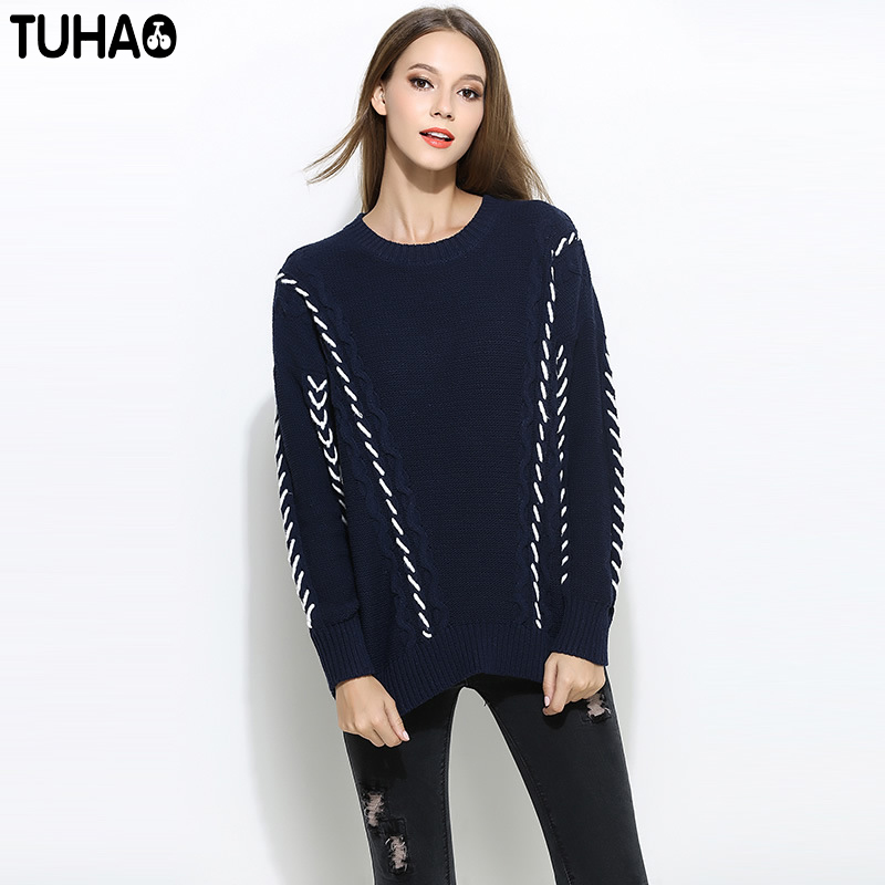 TUHAO Wool Criss-Cross Sweater Design Woman Thicken Batwing Sleeve Casual Knitted Woolen Pullover Femme Plus Size 5XL YZ22