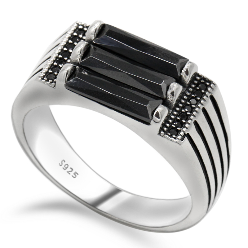 Male Ring 925 Sterling Silver Men Ring Parallel Zebra Lines Black Zircon Band Punk Style Ring For Men Party Jewelry