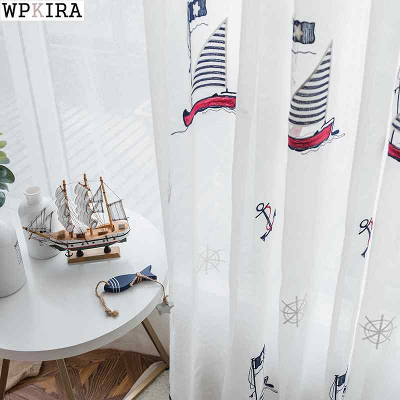 Children Bedroom White Embroidered Sailboat Window Drapes Tulle Window Curtain Decoration Tulle Curtains S285&30