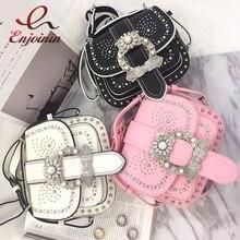 Luxury high quality fashion silver rivets diamond ladies saddle bag shoulder bag purse cross bag female messenger bag 3 colors