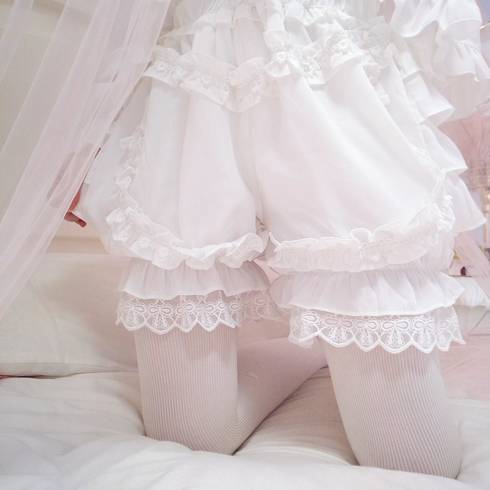 Japanese Cute Lace Chiffon Flouncing Safety Pants Lolita Girl Ladies Cosplay Women's Pumpkin Shorts Elastic Waist Intimates