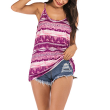 Women Tops Summer Clothes Casual Stripe Print Boho Camis Sleeveless Vintage Sexy Bohemian Fashion Beach Party Camisole H30