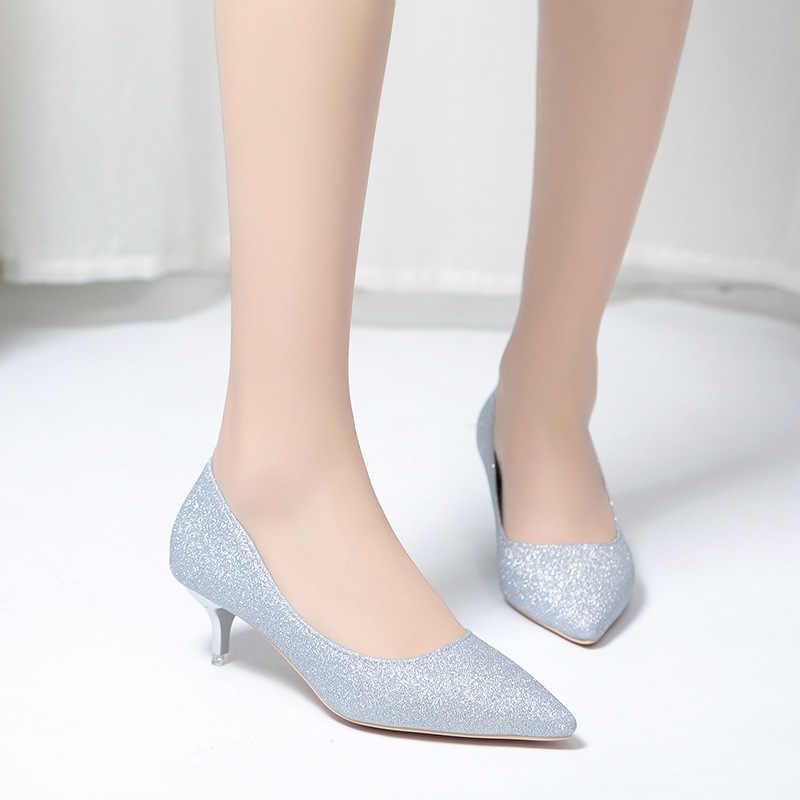 2019 İlkbahar Sonbahar Kadın Pompaları Seksi Altın Gümüş Yüksek Topuklu Ayakkabı Moda Lüks Madeni Pul Düğün parti ayakkabıları Dize Boncuk