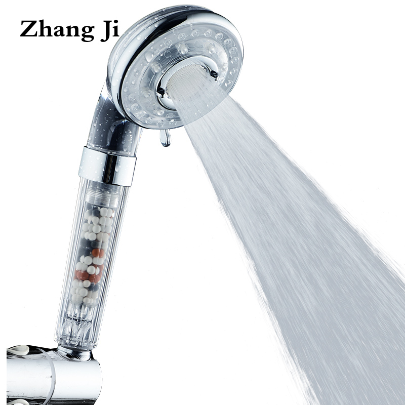 ZhangJi Bathroom accessories Water Saving Shower Heads Chrome Electroplated handheld ABS Free shipping High pressure showerhead