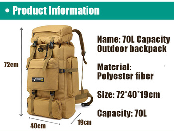 70L Outdoor Backpack Molle Military Tactical Backpack Rucksack Sports Bag Waterproof Camping Hiking Backpack For Travel 2