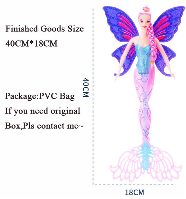 Fashion 40CM Original Swimming Mermaid Dolls Classic Ariel Mermaid Doll Toy With Butterfly Wings For Girl's Birthday Xmas Gifts