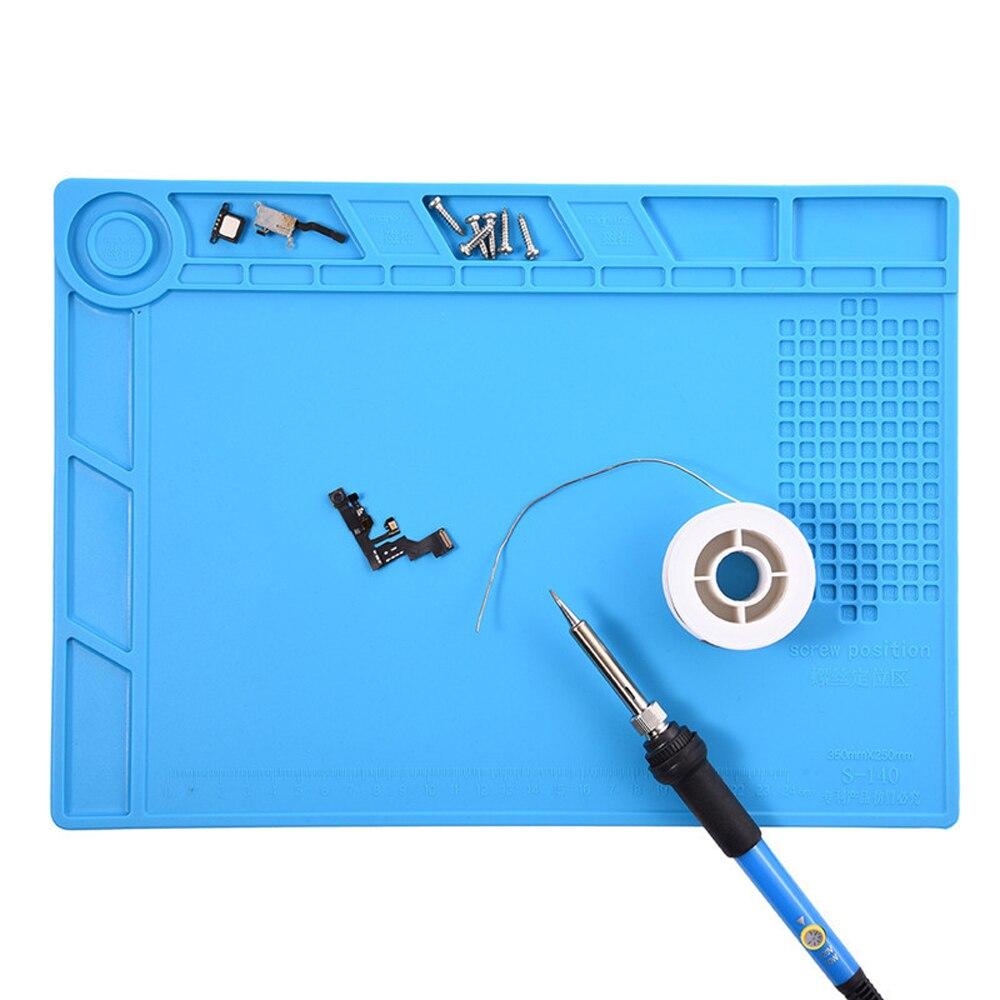 Купить с кэшбэком Magnetic silica gel Mat S-140 350x250mm Soldering Repair Insulation Pad With Magnetic Area Repair Tool Maintenance Platform