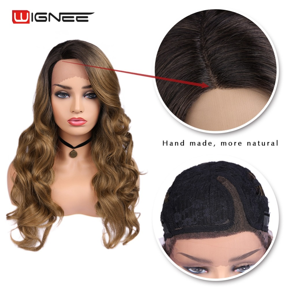 Wignee 2019 New Arrival Lace Front Synthetic Wigs For Women Side Part Ombre Brown Long Hair