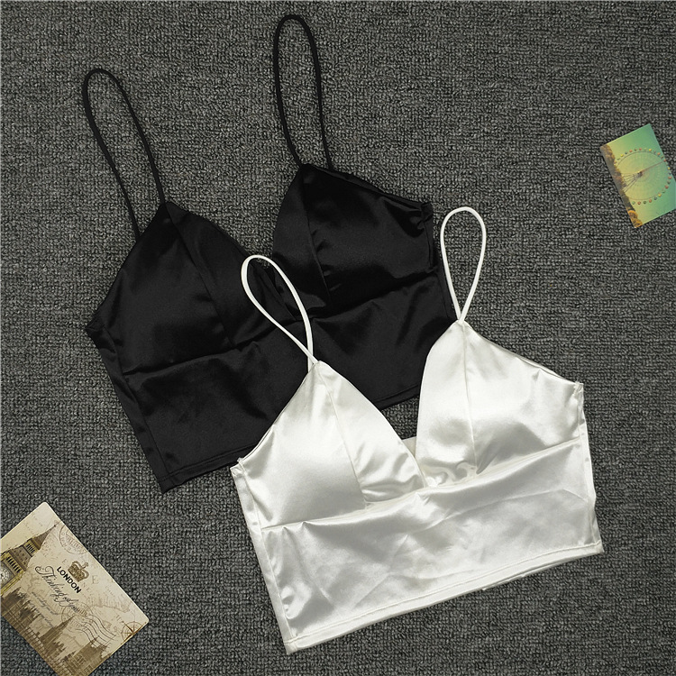 New <font><b>Sexy</b></font> Women <font><b>Sexy</b></font> Strap Silk smooth Plunge <font><b>Bralette</b></font> Bra Sleeping brassiere Push Up Bras <font><b>sexy</b></font> lingerie Top wireless bra top image