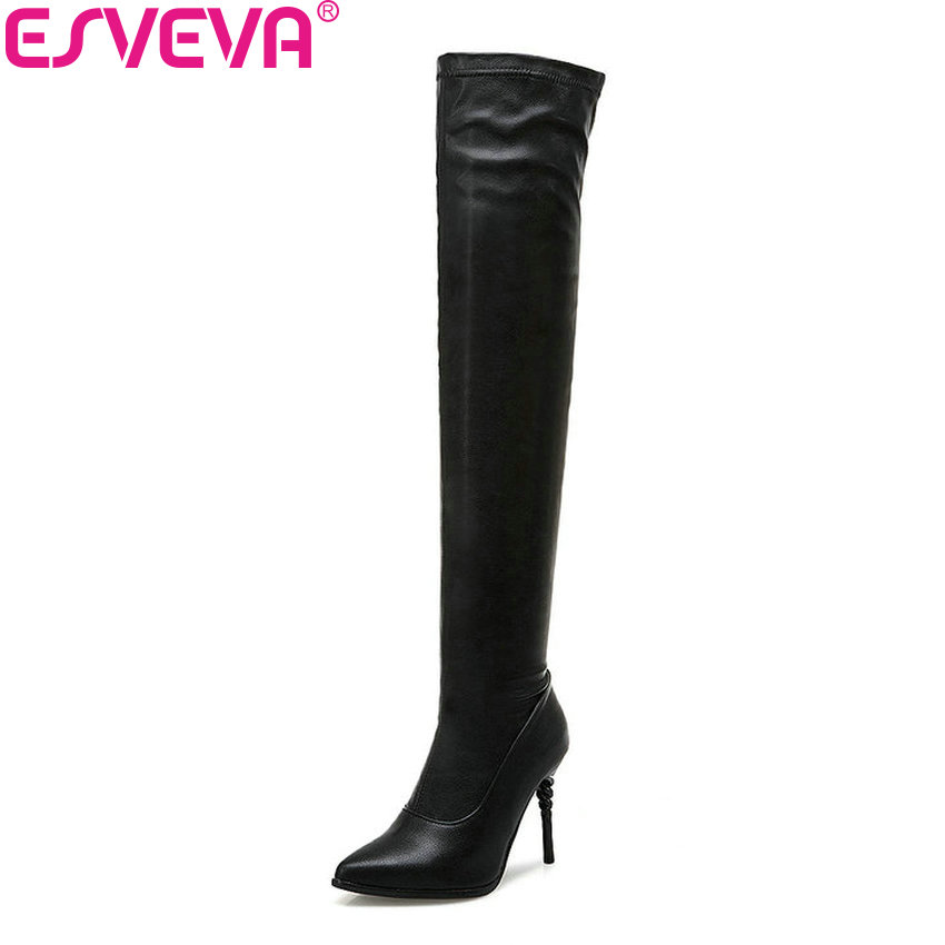 women winter boots stretch fabric fashion high heels women s boots elegant over the knee long boots winter boots ESVEVA 2019 Women Boots Over The Knee Boots Stretch Fabric PU Winter Shoes Pointed Toe Thin High Heels Elegant Long Shoes 34-43