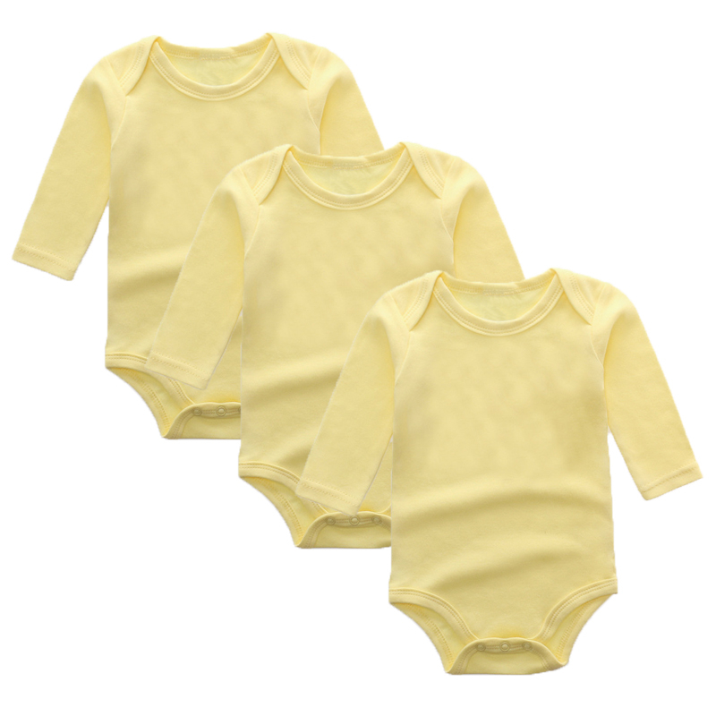 3Pcs Baby Rompers Spring Baby Boy Clothes Solid Newborn Baby Clothes Cotton Baby Girl Clothing Roupas Bebe Infant Jumpsuits