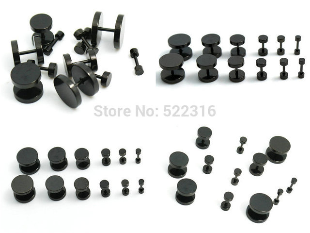 16pcs Black Stainless Steel Fake Cheater Ear Plugs Gauge Body Jewelry Piercing Mix 8 Sizes