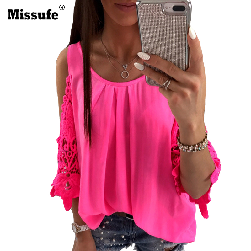 Missufe Hollow Out Casual Blouses For Women Embroidery Lace Cut Sleeve Female Blusas 5 Colors Streetwear Women's Top Shirts