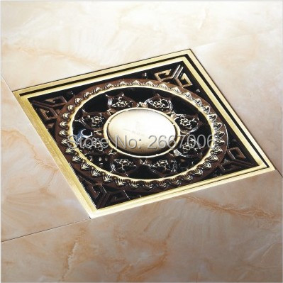 Free Shipping Classic Design 10*10 Square Floor Drain Bath Shower Antique Copper Finish Drain Strainer Household Cleaning ZR2701 free shipping antique bronze bath craved floor drain bath washing drainer