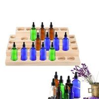 5 15ml Bottles Handmade Natural Pine Wood Display Rack Essential Oil Wooden Tray 30 Holes Demonstration