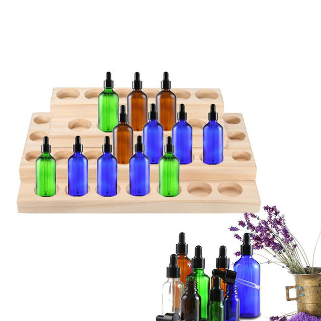 5-15ml Bottles Handmade Natural Pine Wood Display Rack Essential Oil Wooden Tray 30 holes Demonstration Station