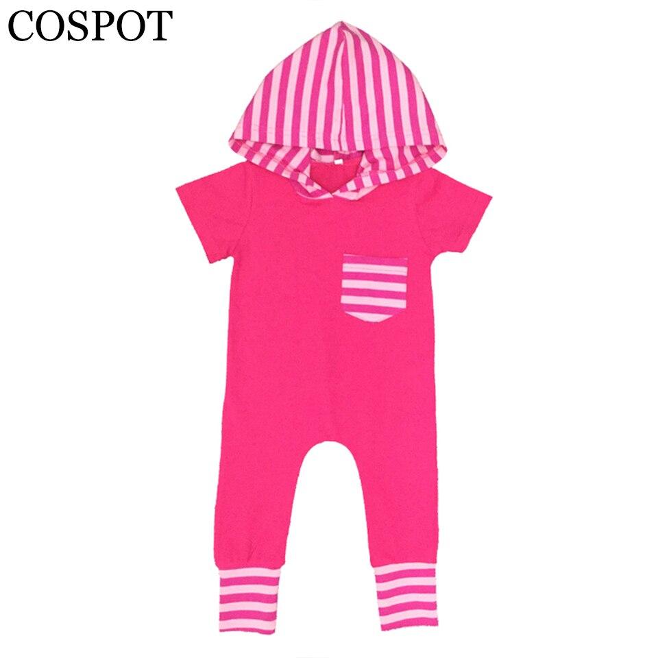 COSPOT Baby Girls Summer Romper Newborn Cotton Hooded Jumpsuit Girls Cute Fashion Striped One-piece Jumper 2018 New Arrival F31
