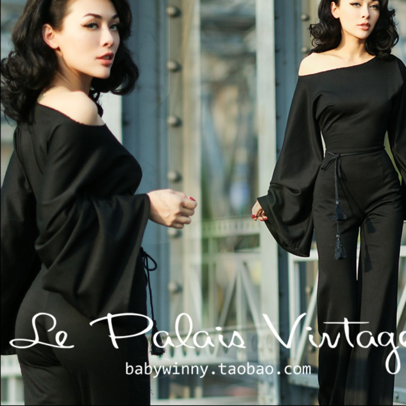Le Palais Vintage Elegant Retro Utility Significantly Thinner Exaggerated Long Sleeves Siamese Trousers Jumpsuit LPV060 - Jenny Fashion store