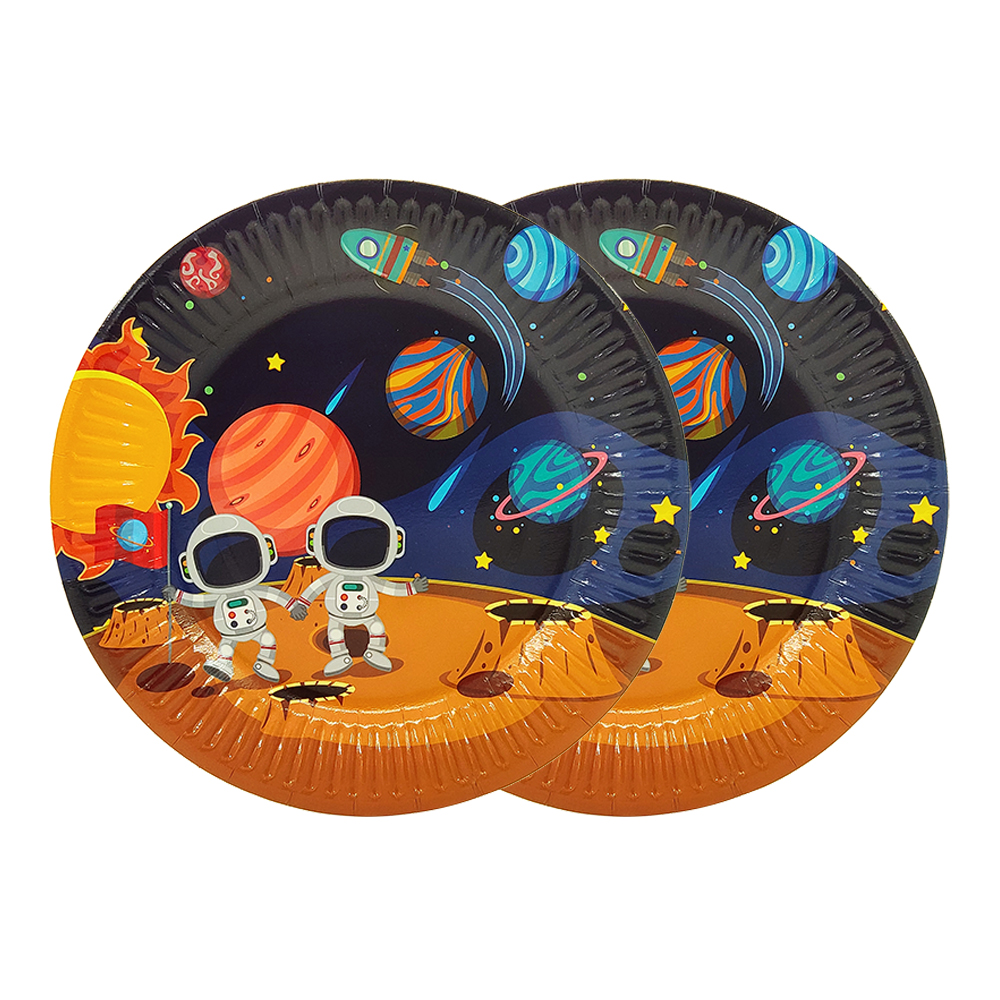 Image 2 - Party supplies 48pcs Astronaut Solar Space party kids birthday party tableware 24pc dessert plates dishes and 24pc cups glasses-in Disposable Party Tableware from Home & Garden