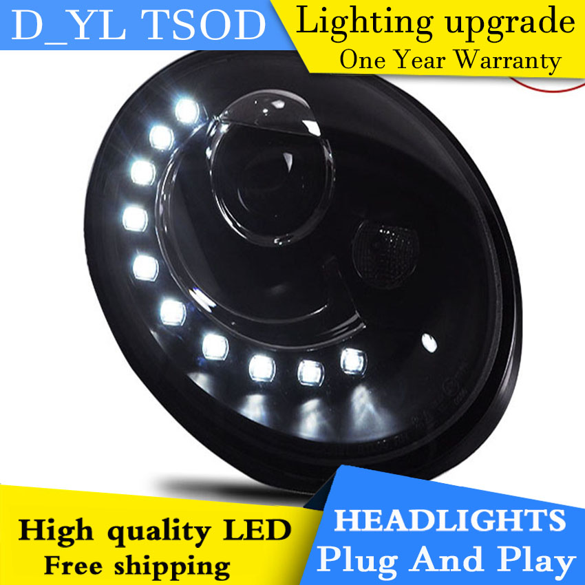 D YL Car Styling for VW Beetle Headlights 1998 2012 Beetle LED Headlight DRL Lens Double