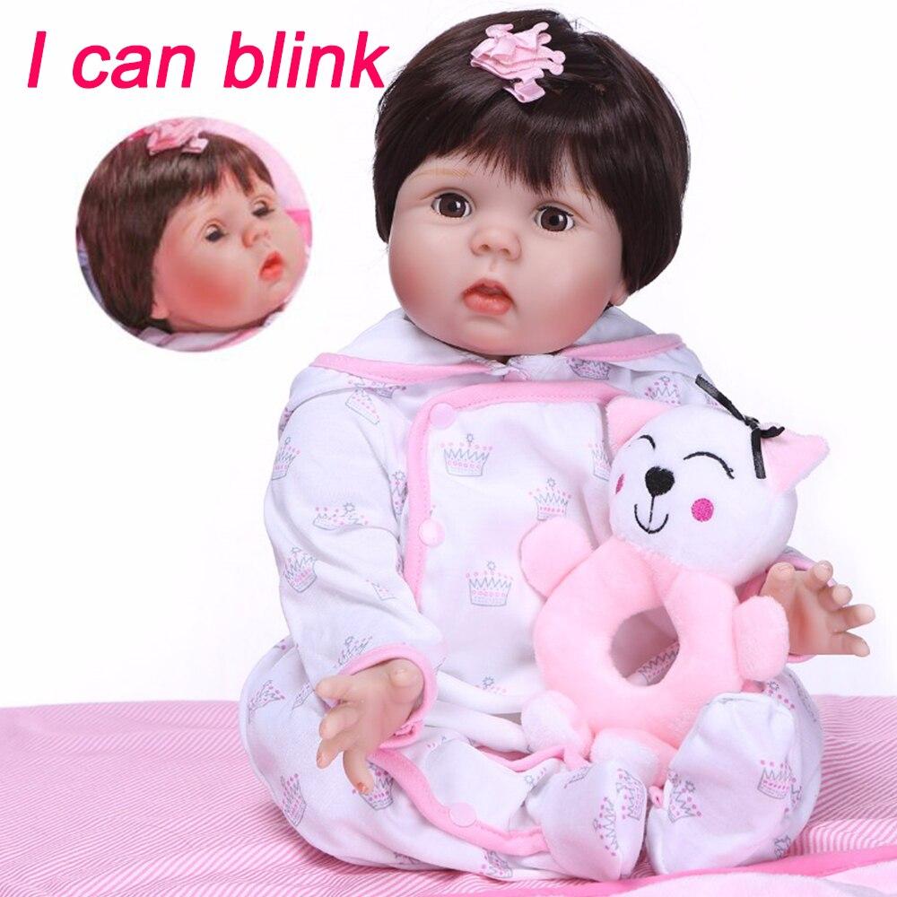 New design Girl Boneca eyes can blink 55CM soft 3/4 SIlicone Vinyl Reborn Babies Doll Bebe Alive Lifelike lovely Toys best Gift