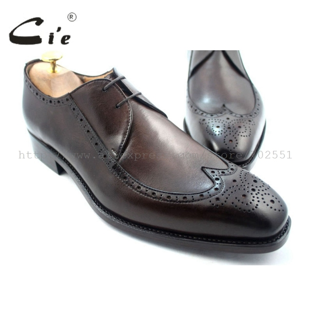 cie Full Brogues Goodyear Welted Custom Handmade Pure Genuine Calf Leather Men's Flats Dress/classic Derby  Dark Coffee Shoe D61