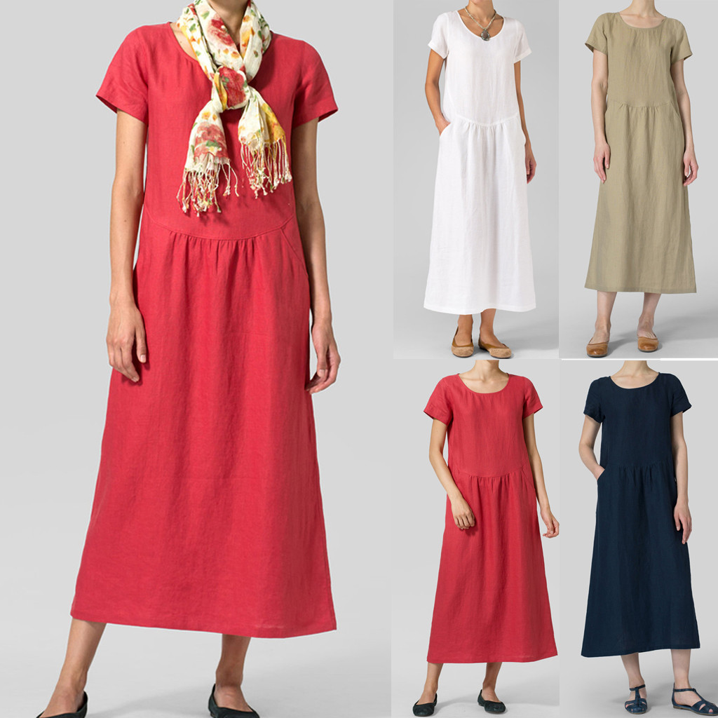 Women <font><b>Vintage</b></font> Linen Dress 2019 Summer Shirt Dress Short Sleeve Solid Casual Loose Party Beach <font><b>Maxi</b></font> Long <font><b>Vestidos</b></font> image