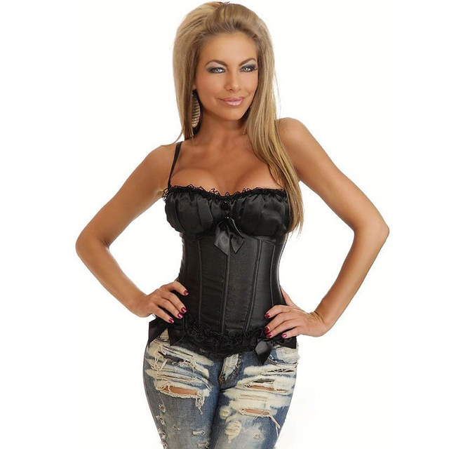 b2f0d69df56 Wholesale Plus Size Black White Paddead Cup Corsets And Bustiers For Womens  Vintage Spaghetti Strap Bowknot Waist Shaper S-6XL