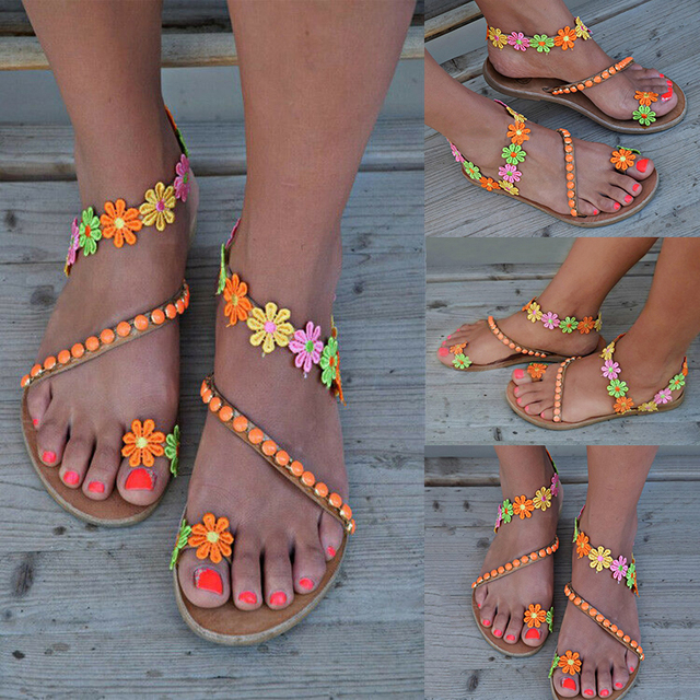2019 Summer Shoes Woman Gladiator Sandals Women Shoes Flat Fashion Sweet Flowers Boho Beach Sandals Ladies Plus Size 43
