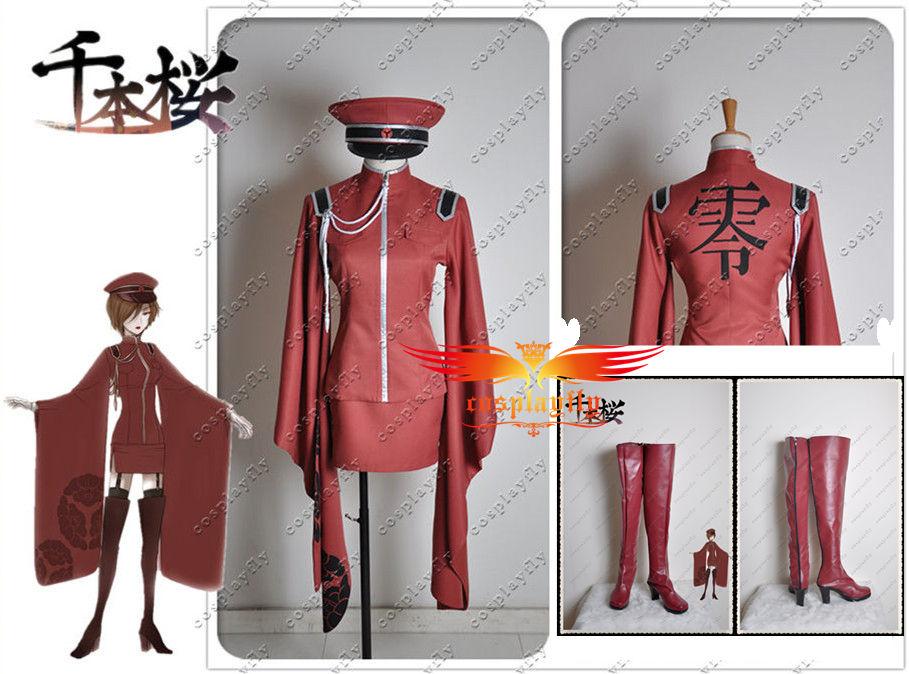 Vocaloid Meiko Senbon Sakura Cosplay Costume Shoes Boots Full Set  (C0213)
