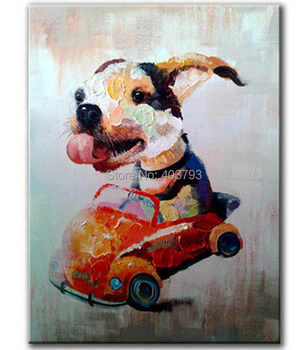 modern fashion  hand painted oil painting on canvas lovely dog  free shipping