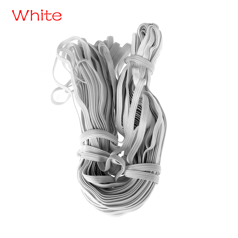 8mm DIY Rubber  Rope Handmade White Black Flat Cord Spool Sewing Elastic Bands