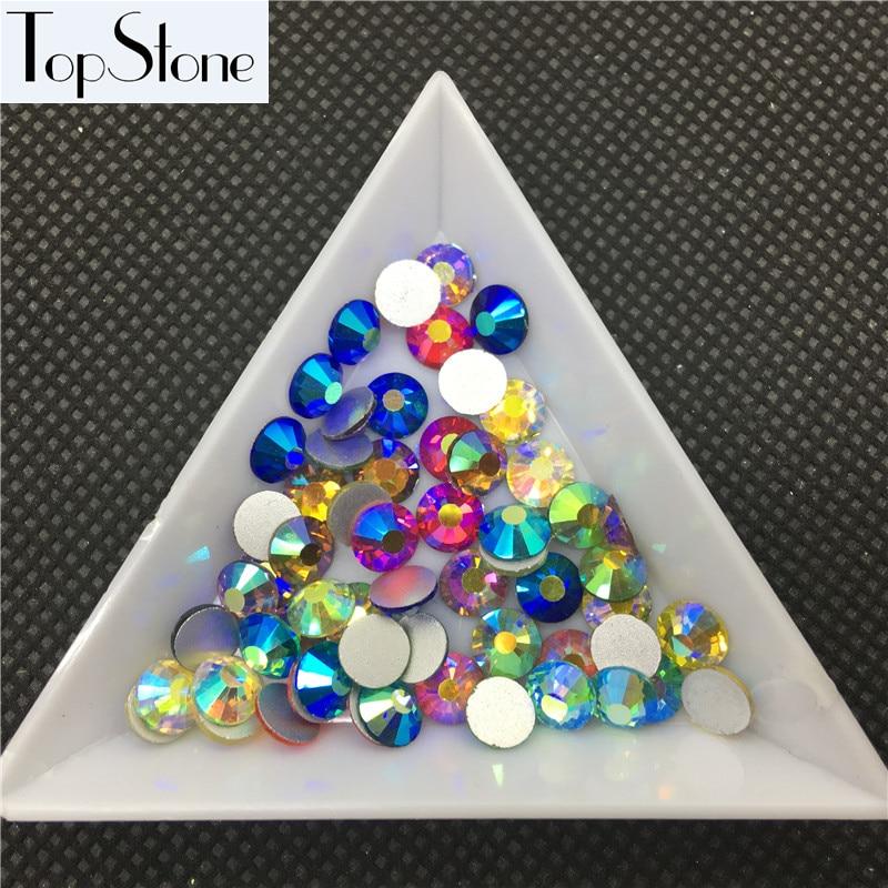 TopStone Mix Colors AB Color ss3-ss30 Cristal de cristal redondo - Artes, artesanía y costura