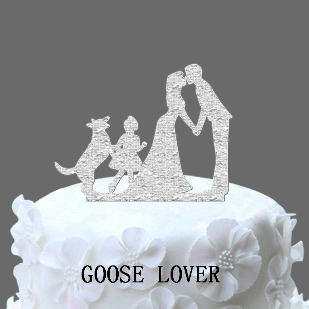 Man Woman Wedding Cake Topper, Family Wedding Cake Topper With Dog And Little Girl, German Shepherd Rustic Cake Topper, Vintage image