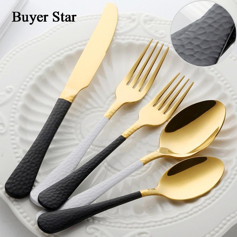 Dinnerware Stainless Steel Fork Spoon Knife Set Talheres Japanese Cutlery Restaurant Purple Silverware Nordic Vintage Flatware