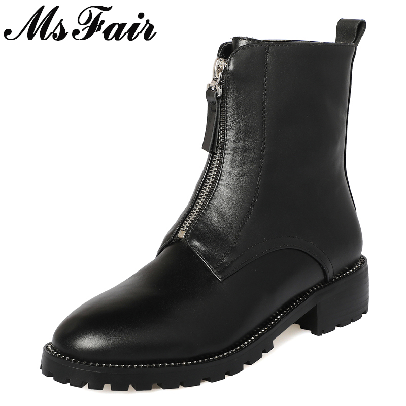 MSFAIR Round Toe Square heel Women Boots Fashion Metal Zipper Med Heel Ankle Boots Women Shoes Plus Size Black Boots Shoes Woman fashion women shoes winter ankle boots brand black flat heel shoes autumn buckle strap round toe short boots woman plus size ce