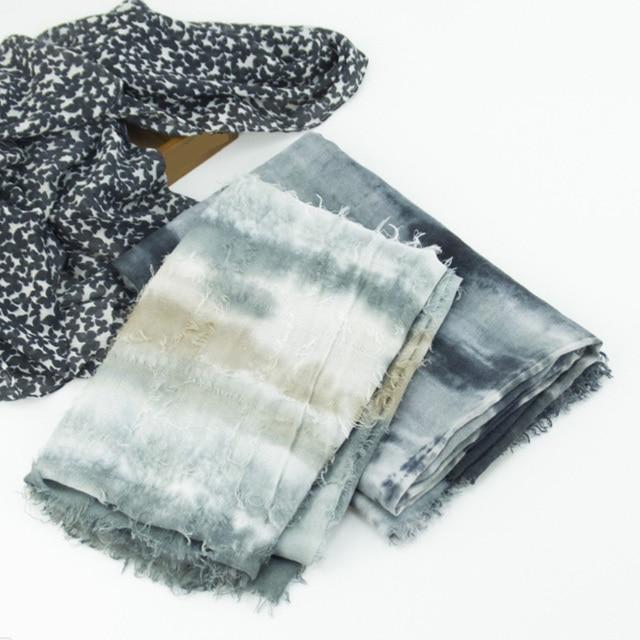 Мода весна осень дамы люксовый бренд хиджаб весна лето ручной tie dye шелковый шарф шаль шарфы ventifact край пара шарф