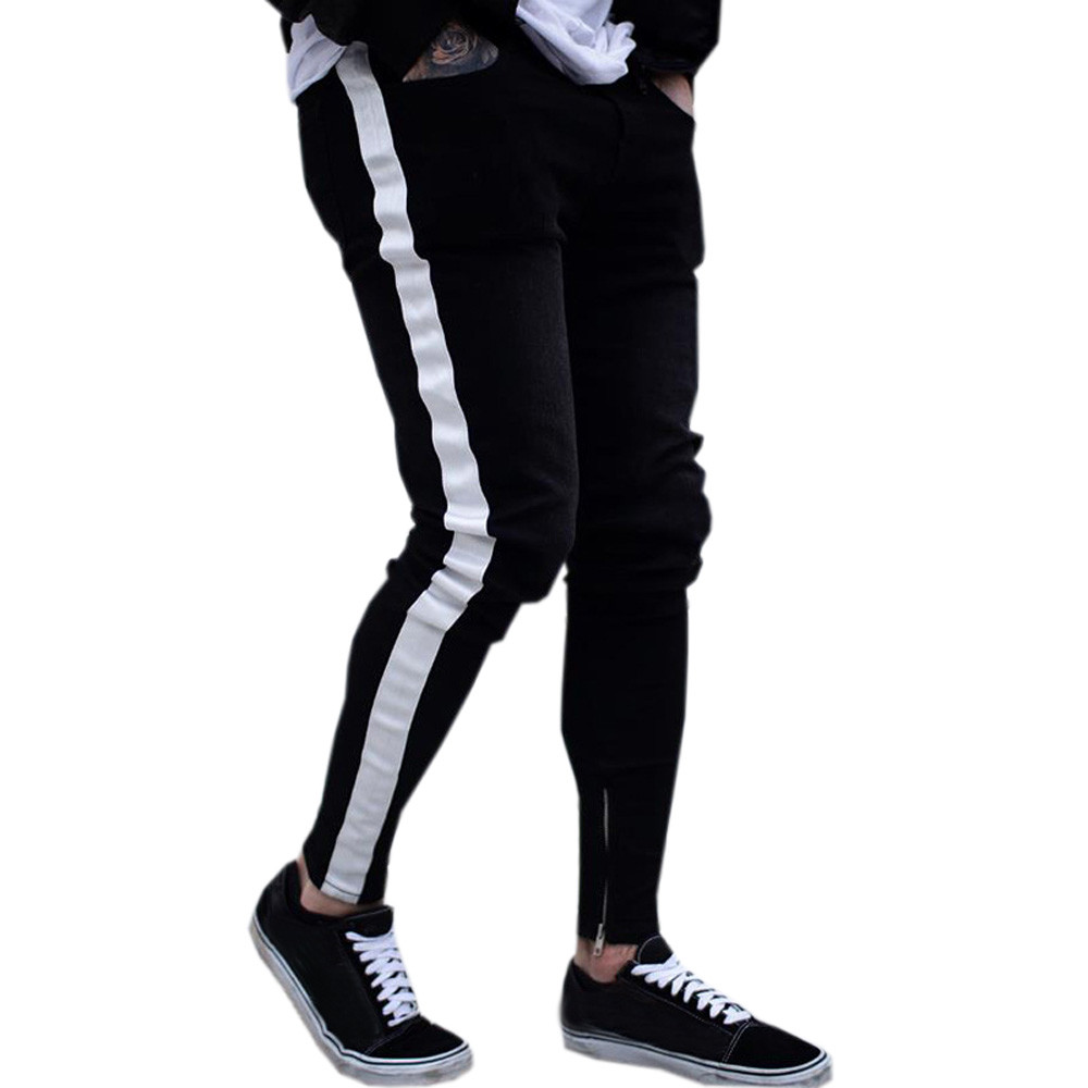 Black Jeans Men Casual Stripe ...