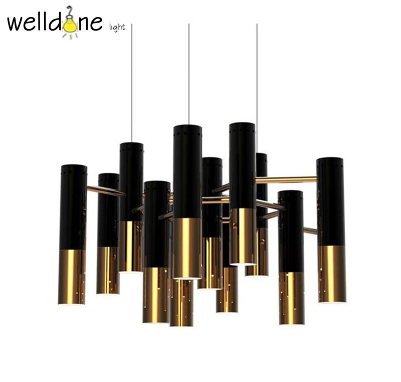 Replicas pendant lamp black gold metal tube suspension lights for meeting room bedroom pavilion restaurant living room kitchen