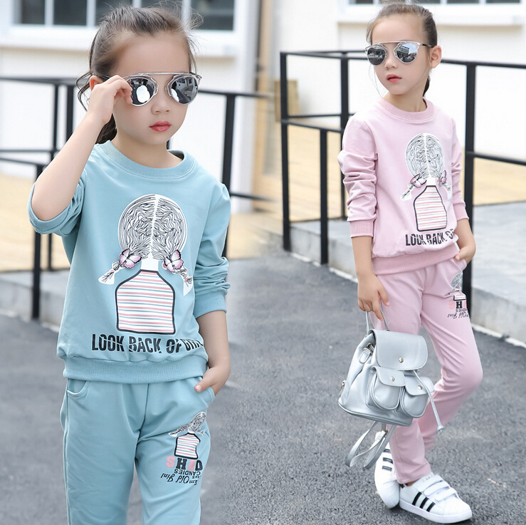 Autumn Cute girls printed cartoon braids Girls Boys Clothing Child Casual Fleece Cheap High Quality clothes Set Comfortable Sets