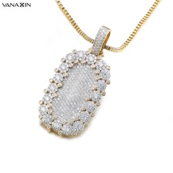 VANAXIN Zircons Women Full Paved CZ Square Punk Trendy Style Pendant Necklaces Unisex Crystal Statement Jewelry for Female Box