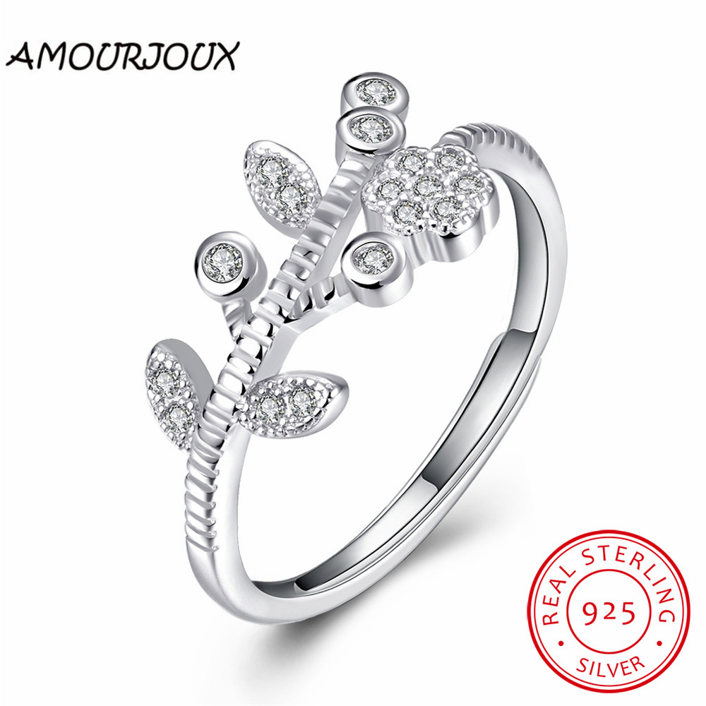 india jewelry pretty wedding rings promotion pretty wedding rings AMOURJOUX Opening Flower Tree Pretty Sterling Silver Rings For Women Engagement Wedding Silver Ring Lady Gift