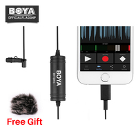 BY DM1 Wired Omnidirectional Lavalier Microphone Clip on Mic w IOS Interface Plug for iPhone X 8 7 Plus